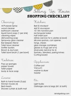 FREE printable Setting Up House Checklist: Kitchen, Cleaning, Linens. Starting from scratch setting up house. First Home Checklist, First Apartment Checklist, Moving Checklist, Moving Tips, First Apartment Cleaning Supplies, Moving Planner, Moving Hacks, College Checklist, College Hacks