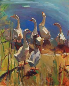 Purchase Information   I think one of the elements that makes this painting successful, is the element of tension. The ducks are walking, ...