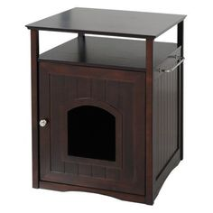 Cat Washroom Walnut by Merry  - The Cat Washroom helps hide your cat's litter box and keeps messes out of sight. ! .- Price: $129.00 -  #catlitterboxfurniture #cat #litter #box #furniture - http://www.catbedandtoy.com/cat-litter-box-furniture