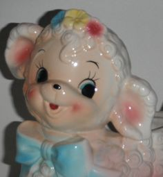 RUBENS big eyes  Lamb PLANTER Vintage  Nursery 50S 60s Retro Kitsch sheep  Planter Ceramic baby gift