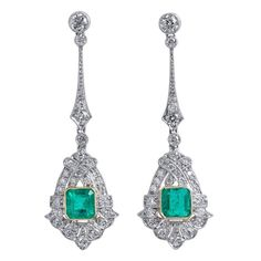 1.60 Carat Colombian Emerald Diamond Gold Platinum Earrings