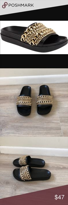 Kendall & Kylie Gold Black Chain Pool Slides Kendall & Kylie Black and Gold Chained Pool Slides! In EUC and completely free of damage and stains! These were the hottest slides for Summer 2017 and will still be trendy for winter vacation and next summer! These aren't only pool slides, you can wear them anywhere and with anything! Kendall & Kylie Shoes Sandals