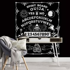 Ouija Board Removable Wallpaper, Spiritual Art Wall Cling, Dark Peel and Stick, Modern Home Decor, Mystical Wall Decal, Occult Wall Mural - Smooth Wall Decal / 1 roll: 24W x 120H