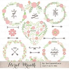 Hand Drawn clipart wreaths floral color clipart от 1burlapandlace