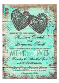Rustic Two Hearts Barn Wood Aqua Turquoise Wedding Invitations.  40% OFF when you order 100+ Invites.  #wedding