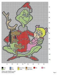 Grinch, Max, and Cindy Lou Plastic Canvas Letters, Plastic Canvas Ornaments, Plastic Canvas Crafts, Xmas Cross Stitch, Cross Stitching, Cross Stitch Patterns, Bead Patterns, Holiday Canvas, Plastic Canvas Christmas