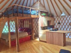"""""""Great use of space! Here is a 24' Pacific Yurt that utilizes a loft bed directly over another bed,…"""""""