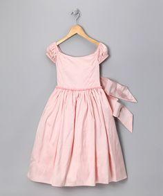 Pink Beaded Dupioni Dress - Girls