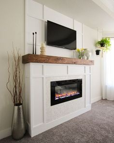 Diy Fireplace Mantel, Fireplace Tv Wall, Shiplap Fireplace, Bedroom Fireplace, Fireplace Remodel, Living Room With Fireplace, Fireplace Design, Electric Fireplace With Mantle, Fireplace Ideas