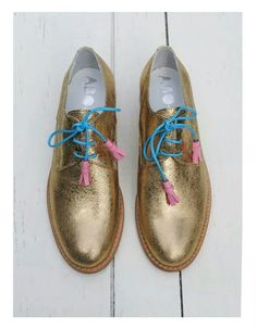 ABO for Ana Ljubinkovic gold brogues by Iva Ljubinkovic #abo #brogues #oxfords…