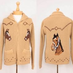 vintage-horse-sweater-zip-up-womens-small-70s-graphic-knit-equestrian-sweater Sweater Coats, Sweater Jacket, Men Sweater, Josie Loves, Black Jumper, Vintage Horse, Zip Ups, Sweaters For Women, Horses