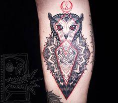 Owl and Mandala tattoo by Chris Rigoni