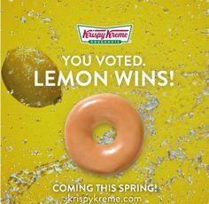 Krispy Kreme You Voted Winner Lemon Glazed Donuts coming this spring...