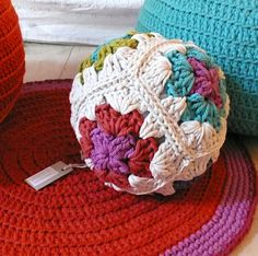 Pillow Ball Crochet  Granny Square by lacasadecoto on Etsy, €22.00