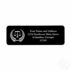 Black/White Laurel Law School Graduation Return Address Label $3.55