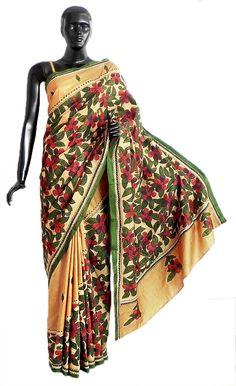 Kantha Stitch on Yellow Pure Silk Saree with Gorgeous Border and Pallu (Silk)