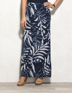 roz & ALI Palm Leaf Print Maxi Skirt
