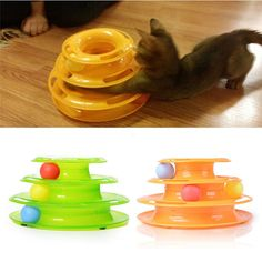 Three Levels Tower Tracks Cat Toy with Pads Bottom