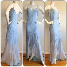Vintage Niki Livas Baby Blue Dress / 1990s by brentedwardvintage