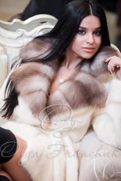 Golden Peral Scandinavian Mink Coat with English Collar of European Sable - Style 01-55 from Olga Franchuk.