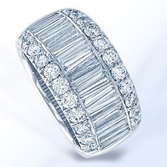 JB Star Platinum Baguette and Round Diamond Wedding Band, available now at King Jewelers