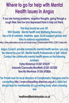 Where to get help with Mental health issues in Angus Scotland healthandlifestyletayside.co.uk