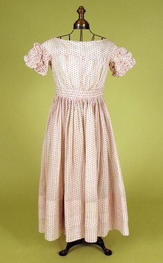 Girl's Red & White Voile Dress, 1830-1850 - Lot 243 $805