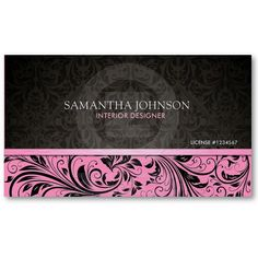 Elegant  Black & Gray Vintage Damask w/ pink Business Card