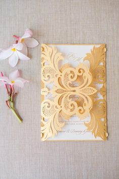 Golden invitations | Paradise Found: Romantic Tropical Wedding in Mexico Gallery - Style Me Pretty