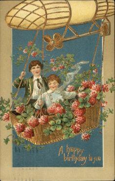 Birthday Children in Air Ship Four-leaf Clovers Gilt Embossed c1910 Postcard picclick.com