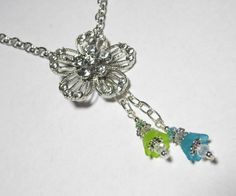 Rhinestone Flower Pendant Necklace With Blue Green Dangles Silver Plated 20 inch #Handmade #Necklace