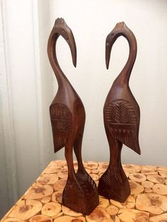 Pair of midcentury hand carved wooden crane figurines by WifinpoofVintage on Etsy Fun Moves, Dark Hardwood, Window Sill, Danish Design, Crane, Hand Carved, Bookends, Mid Century, Carving
