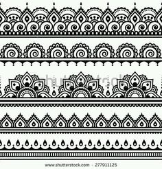 Mehndi, Indian Henna tattoo seamless pattern, design elements by RedKoala great for a border stencil on painted subfloor Henna Tattoo Designs, Mehndi Designs, Tattoo Ideas, Ankle Henna Designs, Indian Henna Designs, Tribal Designs, Mandala Art Lesson, Mandala Drawing, Mandala Tattoo