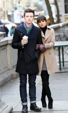 Chris Colfer and Lea Michele filming Glee