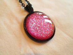 "Dark Pink Glitter Nail Polish Pendant Necklace: 25mm / 1"" Glass Circle in Black Tray Setting"