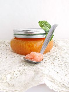 Salt and Honey Scrub with Grapefruit and Rosemary - Fills about 6 half-pint jars. Shelf life 4 months - Ingredients: 2 cups olive oil - 2/3 cup honey - 1/2 teaspoon grapefruit essential oil - 1/4 teaspoon rosemary essential oil - 3 cups salt - sugar (optional) - red food coloring