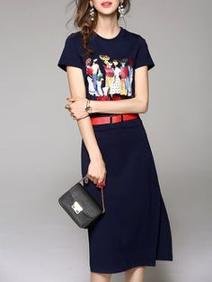 Navy Blue Beaded Casual Graphic Midi Dress with Belt