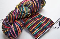 Handpainted Superwash Merino/Nylon 2ply Sock by SeeJayneKnitYarns (Craft Supplies & Tools, Fiber & Textile Art Supplies, Yarn & Roving, Yarn, handmade supplies, knitting, knitting supplies, superwash yarn, fingering sock, black, self patterning, rainbow, multicolor, stained glass, pink, merino wool, pink yellow)