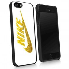 white nike logo gold glitter print iPhone Case And Samsung Galaxy Case