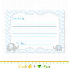 Chevron Boy Elephant Baby Shower Wishes for Baby  by PeachAndMint, $3.00