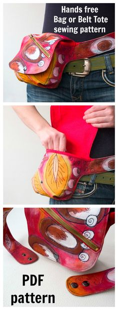 Hands free Bag or Belt Tote pdf sewing pattern - Sale! Shop at Stylizio for womens and mens designer handbags luxury sunglasses watches jewelry purses wallets clothes underwear Handbag Patterns, Bag Patterns To Sew, Sewing Patterns Free, Free Pattern, Sewing Men, Sewing Clothes, Men Clothes, Clutch Tutorial, Wallet Sewing Pattern