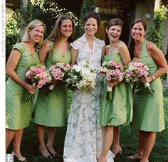 Really like this color and different styles, not sure about the fabric . . .    The Bridal Party Looks