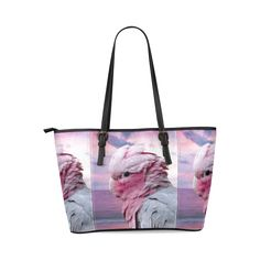 Galah Cockatoo Leather Tote Bag/Large. FREE Shipping. #artsadd #bags #parrots