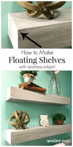 How to Build a Seamless DIY Floating Shelf How to make seamless DIY floating shelves! Great floating shelves for a bathroom and easy to build with this tutorial! Wood Projects For Beginners, Easy Wood Projects, Diy Pallet Projects, Project Ideas, Learn Woodworking, Easy Woodworking Projects, Woodworking Plans, Woodworking Quotes, Woodworking School