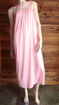 Vintage Lingerie 1960s FIRST LADY Pink Size Small Nightgown with Beige Lace by ReallyCoolClothes on Etsy