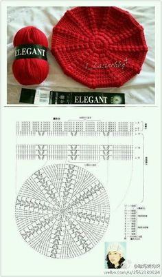 Crochet Beret - Chart - I like the red touch during a grey winter day!