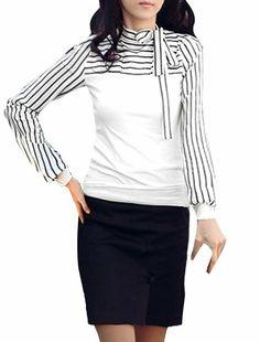 Allegra K Lady Self Bowknot Long Sleeve Stand Collar Stripes Autumn Shirt