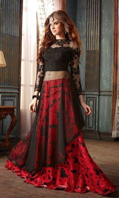 Shop Black and Red Hued Party wear #DesignerSuit online at #IshiMaya Fashion - SUEMS6571_3206