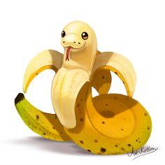 creature doodle 18 banana snake by ArtKitt-Creations # Cute Food Drawings, Cute Animal Drawings Kawaii, Cool Art Drawings, Kawaii Art, Cute Cartoon Animals, Cute Fantasy Creatures, Mythical Creatures Art, Cute Creatures, Snake Drawing