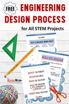 Engineering Design Process for Kids free handout worksheet design process flowchart kids friendly explanation for each step worksheets for students. Good for all STEM challenge project engineering project science center maker space activities Engineering Design Process, Engineering Projects, Stem Projects, Engineering Challenges, Easy Science Experiments, Stem Science, Science Lessons, Science Space, Science Inquiry